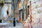 Palestine, Jerusalem, doorway into the Holy Sepulchre from the painting by John Fulleylove