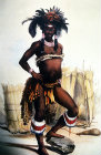 South Africa, Durban, Young Zulu Gala Dress painting by G F Angas 1849 in the Killie Campbell Africana Library