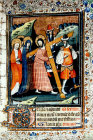 Christ carrying the Cross, fourteenth century illumination from Book of Hours, South African Library, Capetown, South Africa