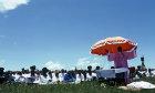A.K.Shembe conducting service, annual Shembe pilgrimage to top of Nhlangakazi mountain, mecca of Nazareth Baptist Church, Natal, South Africa