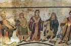 Imperial family, third to fourth century Roman floor mosaic in imperial villa at Piazza  Armerina, Sicily