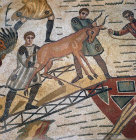 Antelope being loaded for shipping to Rome for games, third to fourth century Roman floor mosaic in imperial villa at Pizza Armerina, Sicily