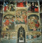 Reredos, fourteenth century, with scenes from the life of Virgin, and copy of the Black Virgin of Montserrat, Tarragona Cathedral, Spain