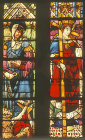 Spain, Leon Cathedral, St Juliana and St Helena by Diego de Santillana 16th century stained glass
