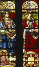 St Agnes and St Apollonia, by Diego de Santillana, 16th century stained glass, Leon Cathedral, Spain