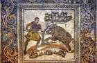Man spearing boar, Roman mosaic, Merida, Spain