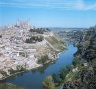 View of part of south east quarter, Alcazar, Castle of San Cervantes, Military Academy and River Tagus, Toledo, Spain