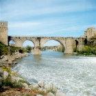 San Martin Bridge over Tagus river, thirteenth to fourteenth century, Toledo, Spain