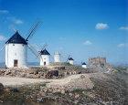 Windmills and ruined castle, Consuegra, Castilla-La Mancha, Spain