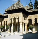 Spain, Granada, the Alhambra 14th century, east Pavilion portico of the Lion Court