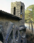 Antonio Gaudi stained glass, twentieth century, exterior, Chapel of Guell Colony, Barcelona, Spain