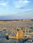 Syria, Palmyra, general view over the ruins at sunset
