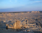 General view over the ruins at sunset, Palmyra, Syria
