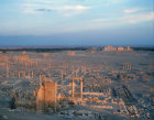 General view over ruins at sunset, Palmyra, Syria