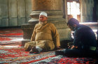 Syria, Damascus, Arab talking to a soldier in the Ommayad Mosque (Great Mosque) which dates from the 8th century
