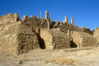 Syria, Resafa, mud brick huts built against the  basilica of St Sergius