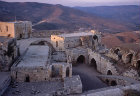 Krak des Chevaliers, crusader castle built by the Hospitaller order of St John of Jerusalem, 1142-1170, view south over courtyard and towers, Syria