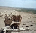 Syria, crumbling building in the citadel at Qal