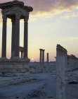 Syria, Palmyra, part of the Tetrapylon and colonnaded street at sunrise