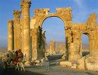 Syria, Palmyra, triumphal arch and donkey cart