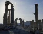 Syria, Palmyra, colonnaded street and triumphal arch looking towards the Temple of Bel
