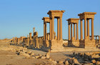 Tetrapylon, view from the west along colonnaded street to Temple of Bel, Palmyra, Syria