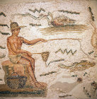 Tunisia, detail of a 11th century AD mosaic of a man fishing, now in the Bardo Museum, Tunis