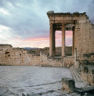 Temple of Jupiter, Juno and Minerva 166-7 AD, at sunset, Dougga, ancient Thugga, Roman city founded 6th century BC, Tunisia