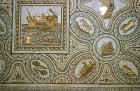 Lattice animal mosaic with inset picture of fishing, Bardo Museum, Tunis, Tunisia