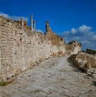 Roman street in the city of Dougga, ancient Thugga, Roman city founded 6th century BC, Tunisia