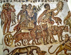 Triumph of Bacchus,  chariot drawn by tigers, third century, Roman mosaic, Sousse Museum, Sousse, Tunisia
