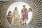 Two figures with masks, third century, Roman mosaic, Sousse Museum, Sousse, Tunisia