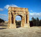 Tunisia, Sbeitla, ancient Sufetula, triumphal arch of Diocletian, late 3rd century AD