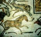 Horse, antelope, deer, third century, Roman mosaic, Sousse Museum,  Sousse, Tunisia