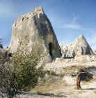 Exterior of rock-cut mausoleum dating from 6th to 9th century, Cappadocia, Turkey