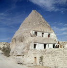 Turkey, Cappadocia, modern cone dwelling house carved out of Tufa caused by lava from the now extinct volcano Mount Erciyes