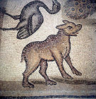 Bear and goose, detail from fifth century floor mosaic in the Great Church, Mopsuestia (Misis), Cilicia, Turkey