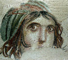 Face of female known as the Gypsy girl, third century, Gaziantep, Zeugma mosaic museum,Turkey