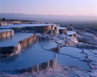 Turkey Pamukkale ancient Hierapolis  rock pools formed by the calcium carbonate formations