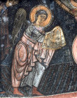 Turkey, Cappadocia, Eski Gumus (Old Silver ) Monastery near Nigde, mural shows St Michael 12th century