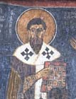 St Basil, 12th century wall painting, Eski Gumus Monastery, Cappadocia, Turkey