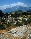 Turkey, Phaselis, Lycia, theatre with Mount Olympus in background