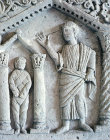 Jesus raising Lazarus from the dead at Bethany, detail of 5th century sarcophagus, Archaeological Museum, Istanbul, Turkey