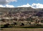 Turkey, Cappadocia, erosion showing cones at three levels
