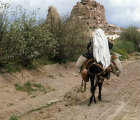 Turkey, Cappadocia,  peasant woman returning from the fields, Ushisar is in the background