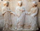 Turkey Ephesus a plaque of the three Graces found in one of the Roman villas now in the Ephesus Museum Selcuk