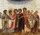 Manna from Heaven, twelfth century Byzantine illuminated manuscript in Topkapi Palace Museum, Istanbul, Turkey