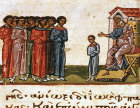 Jacob sending his sons to Egypt, twelfth century Byzantine Illuminated manuscript, page 131B, Topkapi Palace Museum, Istanbul, Turkey