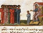 Jacob sending his sons to Egypt, twelfth century Byzantine Illuminated manuscript, page 131B, Topkapi Palace Museum, Istanbul, Turkey