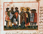 Pharaoh, Jacob, Joseph and his brothers, twelfth century Byzantine Illuminated manuscript, page 139, Topkapi Museum, Istanbul, Turkey